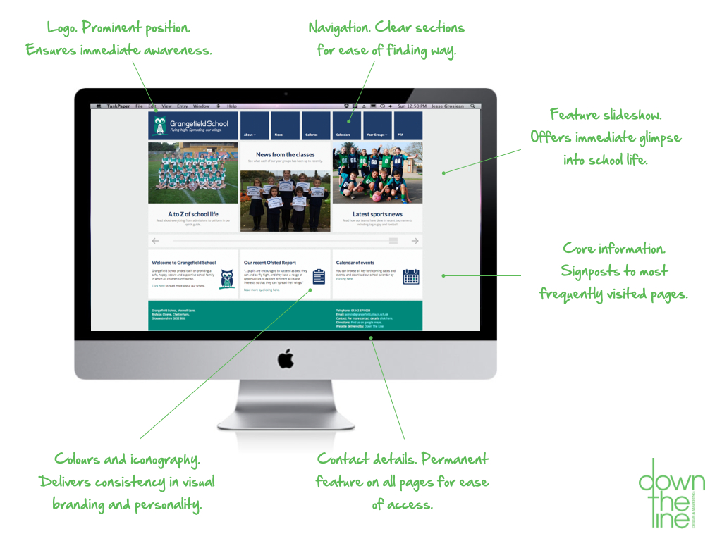 School website home page design for Grangefield School