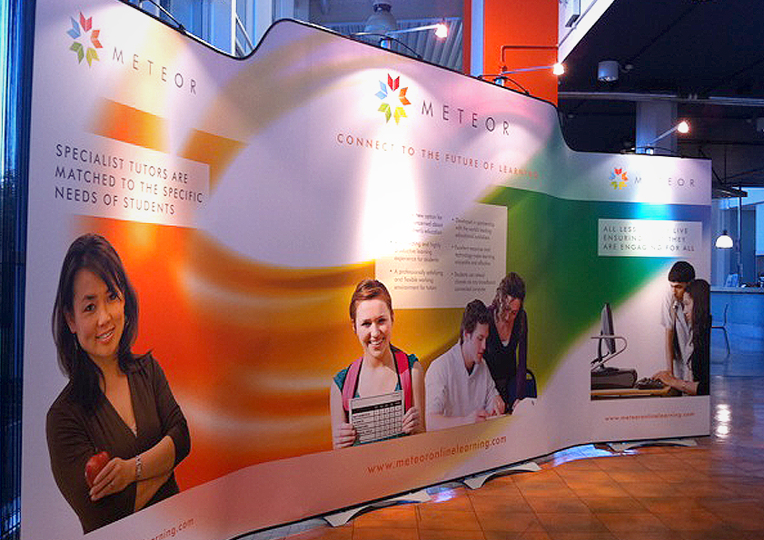 Branding and exhibition stand design for Meteor Online Learning Education